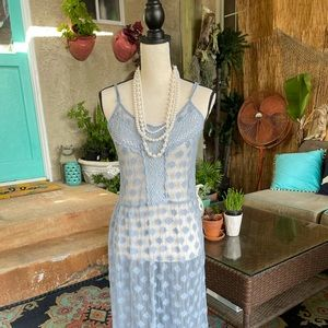 Periwinkle Blue Sheer Lace & Crocheted Maxi Dress